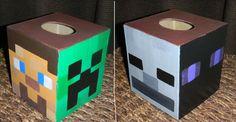 minecraft valentines box | Hand Painted Custom MINECRAFT Tissue Kleenex Box Cover Creeper Steve ... Steve Valentine, Valentine Day Boxes, Valentines For Boys, Valentines Day Party, Valentine Day Crafts, Valentine Ideas, Minecraft Box, Minecraft Classroom, Minecraft Party