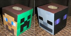 minecraft valentines box | Hand Painted Custom MINECRAFT Tissue Kleenex Box Cover Creeper Steve ...