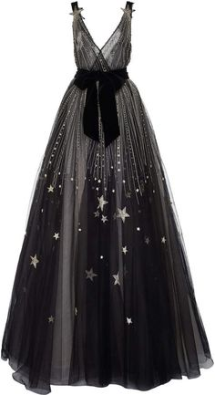 Monique Lhuillier V-Neck Star Embellished Gown With Velvet Bow Belt Tulle Gown, Ball Gown Dresses, Dress With Bow, Dress Up, High Fashion Dresses, Embellished Gown, Formal Gowns, Beautiful Gowns, Dream Dress