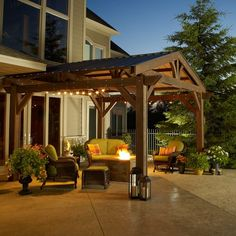 The Lodge Pergola brings mountain living right to your own backyard! Quality pergola construction evokes the stately lodges from a bygone era. Wood Pergola Kits, Patio Pergola, Vinyl Pergola, Pergola Canopy, Metal Pergola, Pergola With Roof, Cheap Pergola, Wooden Pergola, Gazebo