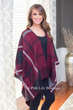 Burgundy and Black Plaid Shawl Poncho - The Pink Lily Boutique