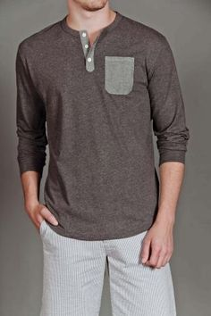 Goodale Chambray Pocket Henley Shirt