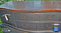 Victoria's Vintage Design, http://victoriasvntgdsgns.blogspot.com/, stained the top of this dresser with General Finishes Java Gel Stain.  We'd love to see your projects made with General Finishes products! Tag us with @GeneralFinishes and make sure to let us know which products you used! #generalfinishes #javagel
