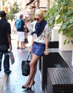 polka dots scarf with polka dots blouse and shorts
