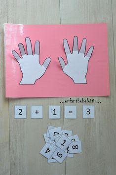 Hello; Voici un petit support tout simple à réaliser, avec deux petites mains plastifiées, collées jusqu'aux doigts sur un support lui aussi plastifié. Idéal pour initier aux Additions !! ...