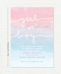 gender reveal invitation, watercolor ombre gradient, pink or blue girl boy baby shower pretty pastels watercolor gender reveal 007