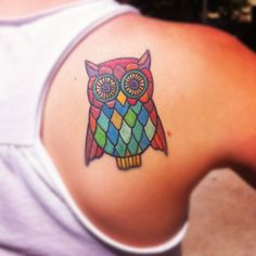 An owl tattoo inspired by my grandmother and her love for owls, done in November…