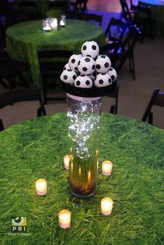 Fun soccer centerpiece for a sports themed bar mitzvah/bat mitzvah.