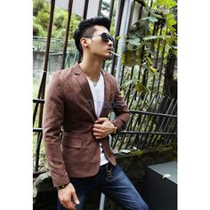 Boutique fashion suede two button notch lapel men's long-sleeved... via Polyvore