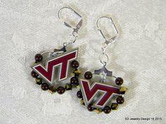 College Charm Dangle Earrings-Virgnia Tech by SDJewelryDesign16
