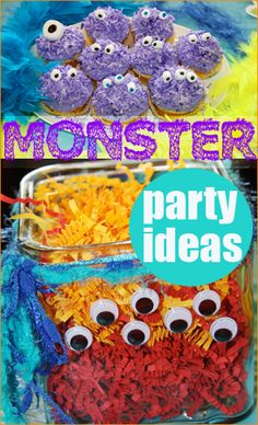 Monster Birthday Party Ideas.  Great party ideas for your little monster.  Celebrate a birthday party or Halloween party with these creative silly desserts, party games and party decor.