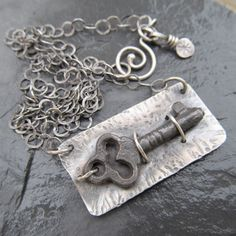 Sterling Skeleton Key Necklace Silver Antique Vintage Key by artdi