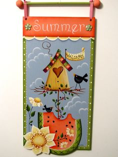 Birdhouse, Watermelon, Daisies, Crows, Handpainted Banner, Sign, Wall Art