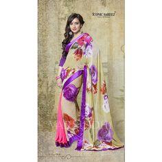 Bollywood Actress Neha Sharma Reversible Saree Indian Saree Partywear Saree Satin Georgette Designer featuring polyvore fashion clothing black dresses women's clothing