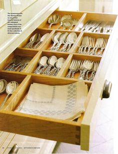 Use drawer dividers to separate different types of kitchen utensils and tools. Keep like-items together and make sure all smaller items are contained in one bin so they can't get lost.