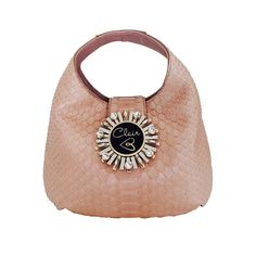Tuscany Python Leather Handbag with Swarovski Crystals