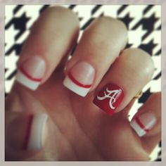 Trendy Ideas For Nails Ideas Easy Football Alabama Football Nails, Alabama Nails, Toe Nails, Pink Nails, Polish Nails, Football Nail Designs, Dipped Nails, Cute Nail Designs, Simple Nails