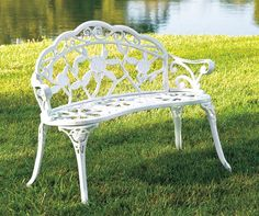Buy a Vintage White Rose Cast Iron Bench at Big Lots for less. Shop Big Lots Patio Sets & Chairs in our department for our complete selection. Cast Iron Garden Bench, Cast Iron Bench, Iron Patio Furniture, Garden Furniture, Outdoor Furniture, Fountains For Sale, Vintage Porch, Small Front Porches, Bench Decor