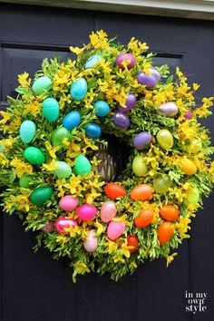 Make an Easter egg wreath - love the fun colors!
