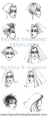 The Figure Drawing Templates by Irina V. Ivanova. Faces and hair styles.