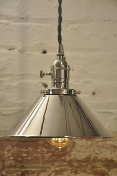 Polished Nickel Cone Shade Industrial Pendant Light by wires jars $89