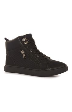Primark - Black PU High Top Trainers