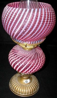 Parlor Lamp; Buckeye Glass Co?, Gone with the Wind, Reverse Swirl, Cranberry, Opalescent.