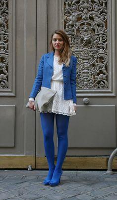 Women wearing blue pantyhose — photo 13