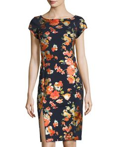 Short-Sleeve Foral-Print Sheath Dress, Navy/Multi by Label by 5twelve at Neiman Marcus Last Call.