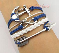 Infinity Bracelet,Anchor Bracelet, Arrow charm bracelet,bridesmaid bracelet, friendship christmas gift,personalized