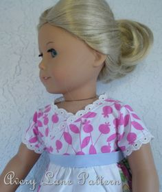 mily's Dress pattern with Crossed Front Bodice details Boutique doll Pattern Avery Lane 18 inch doll PDF Patern email delivery