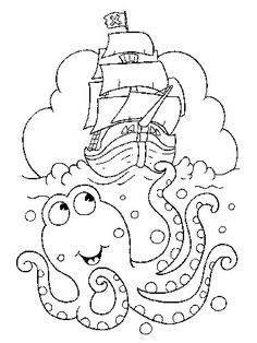 Pirate and sea life coloring pages that would make great embroidery patterns as well.