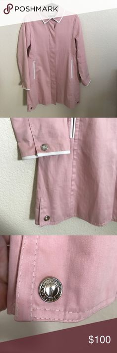 Coach Trenchcoat Blush rose color. short trench coat. White leather piping. Awesome coat! EUC. Coach Jackets & Coats Trench Coats