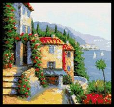Cottage by the sea cross stitch kit or pattern