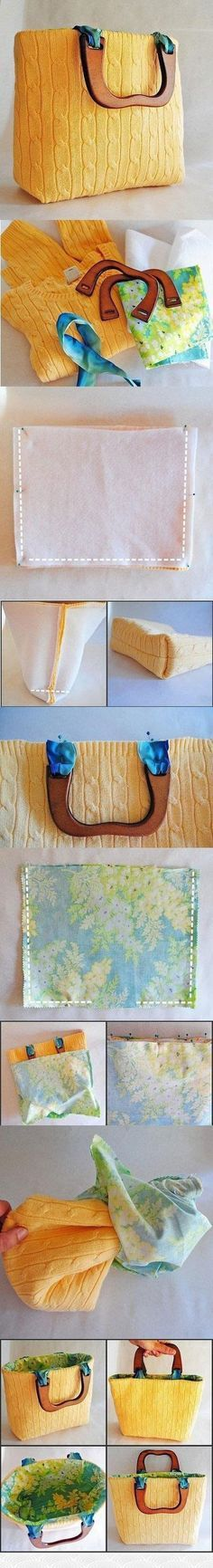 <<- Love this DIY bag, maybe not with the sweater but with some thick pattern fabric and leather it would be perfect ->>