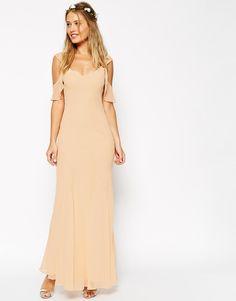 ASOS WEDDING Bias Cut Maxi Dress With Seams And Frill Sleeves