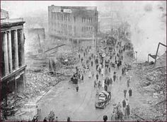 ... shot of a devastated Broadgate after the Coventry Blitz in 1940