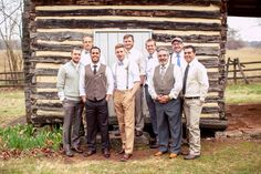 Mix Matched Groomsmen | Eco-Friendly Wedding At Nashville's Sam Davis Home With Vintage Boho Flair | Photograph by (once like a spark) Photography  http://storyboardwedding.com/eco-friendly-wedding-nashville-sam-davis-home-vintage-boho/
