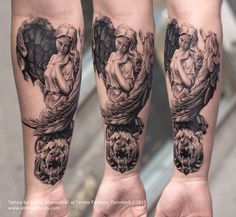 Roman Angel Tattoo by Sunny Bhanushali from Aliens Tattoo. Client wanted a full sleeve tattoo based on roman religious and historical sculpture. We started with this forearm sleeve, finished the first session so far. I loved the way it has turned out to be, check it out you will love it too, Share it if you like it