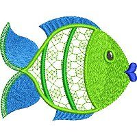 Embroidery design of a fish.