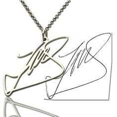 Handwriting Necklace Signature Necklace Custom Sterling Silver