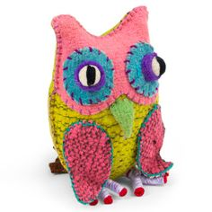 {Twoolies Owl} handmade by Mayan Tzotzil weavers; such colourful happy owls!
