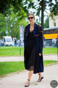 Veronika Heilbrunner wearing Acne Studios coat after Chanel fashion show.