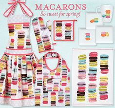 Guess what we have! Macaron aprons and dish towels for your kitchen, gift bags, and gift wrap!!   Many Hands Trading