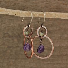 $33 - Lavender Mist Earrings - Copper hoops with amethyst and chalcedony dangles - Maggie Connolly Designs
