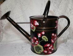 Hand Painted Geranium Watering Can (2 gallon)  - READY TO SHIP $46.95