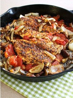 Cajun Chicken with Shiitake, Braised Tomato, and Onion - a healthier dish for Mardi Gras and Fat Tuesday...without the fat!