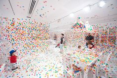 The Obliteration Room- a series of rooms were painted completely in white where every room surface, piece of furniture and decoration was treated as a giant white canvas. Over the course of two weeks, kids were given thousands of colour dot stickers and were encouraged to make their creative contribution towards transforming the white space into one exploding with vibrant colours.