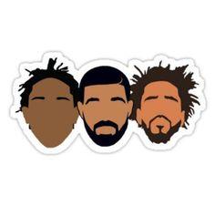 'Drake, J Cole, Kendrick Lamar' Sticker by Sam Gendelman J Cole And Drake, Rapper Art, Black Cartoon, Kendrick Lamar, Star Wars Art, Transparent Stickers, Cute Wallpapers, Vector Art, Vinyl Decals