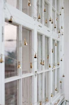 christmas idea | golden bells on windows, adds nice jingle when windows are open